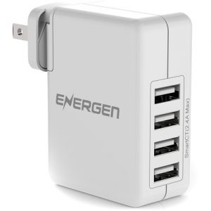 Energen 4 Port Interchangeable Prongs USB Wall Charger - 30W (Twin Pack)