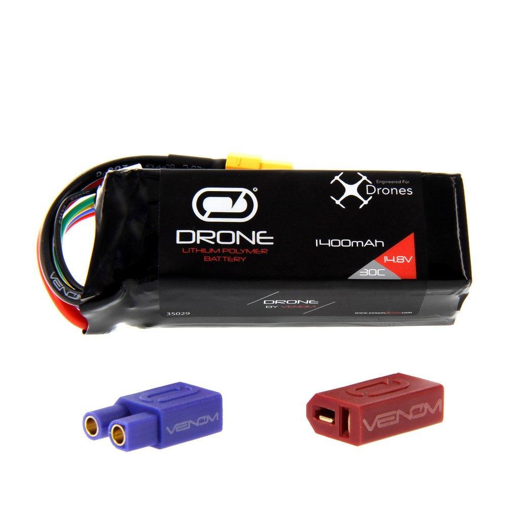 Venom 30C 4S 1400mAh 14.8V LiPo Drone Battery – Uni 2.0 (XT60, EC3, Deans) Plug