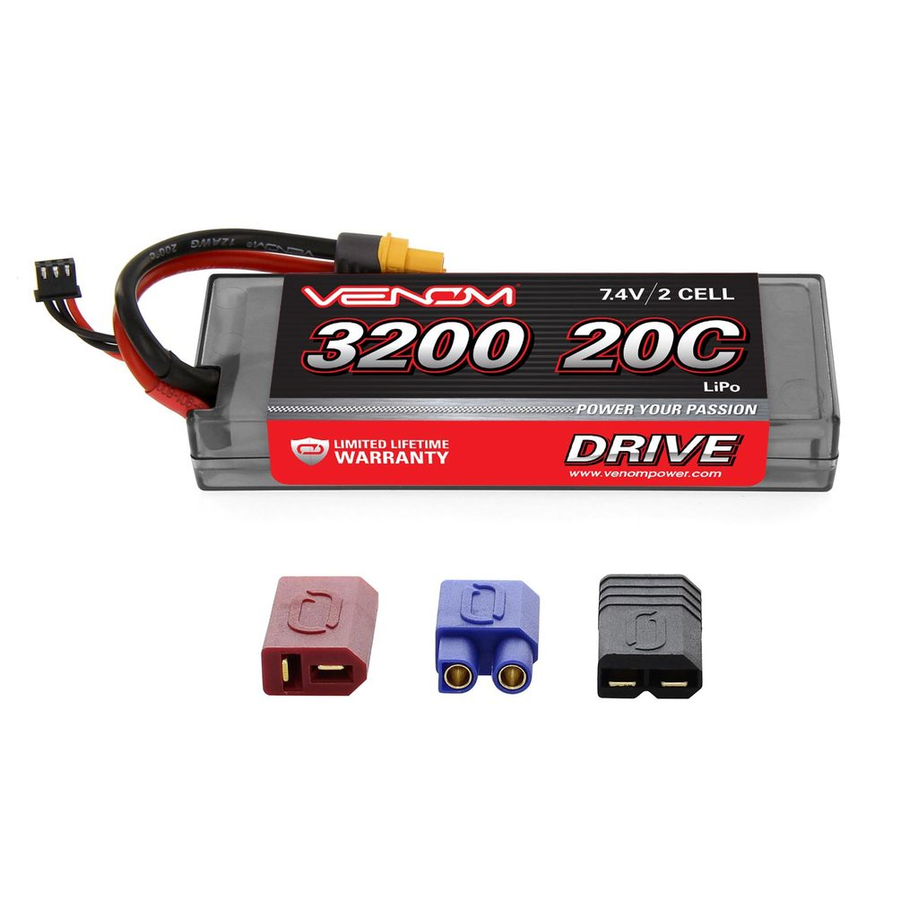 Venom 20C 2S 3200mAh 7.4V Hard Case LiPo Battery with Universal Plug System