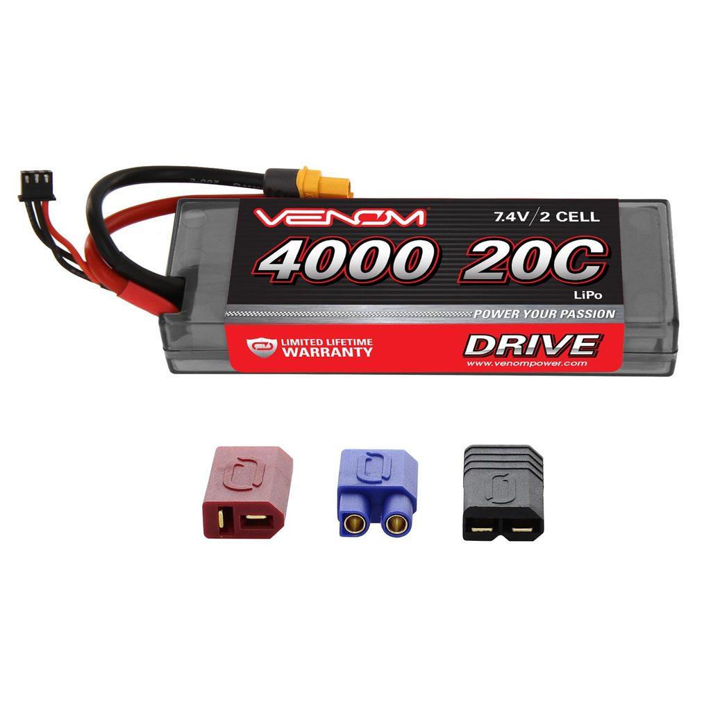 Venom 20C 2S 4000mAh 7.4V Hard Case LiPo Battery with Universal Plug System