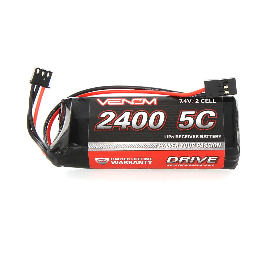 Venom 5C 2S 2400mAh 7.4V Receiver/Transmitter Flat Pack LiPo Battery