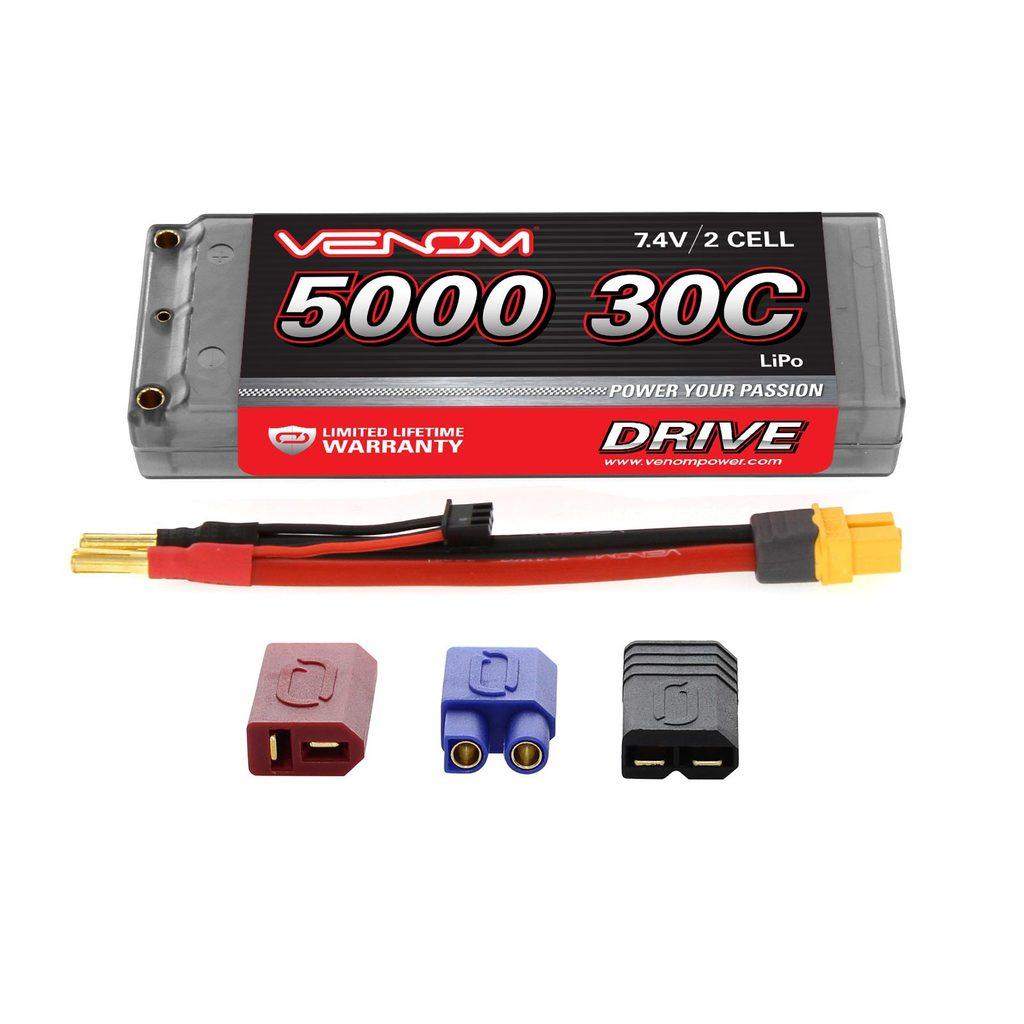 Venom 30C 2S 5000mAh 7.4V Hard Case LiPo Battery ROAR Approved with UNI Plug