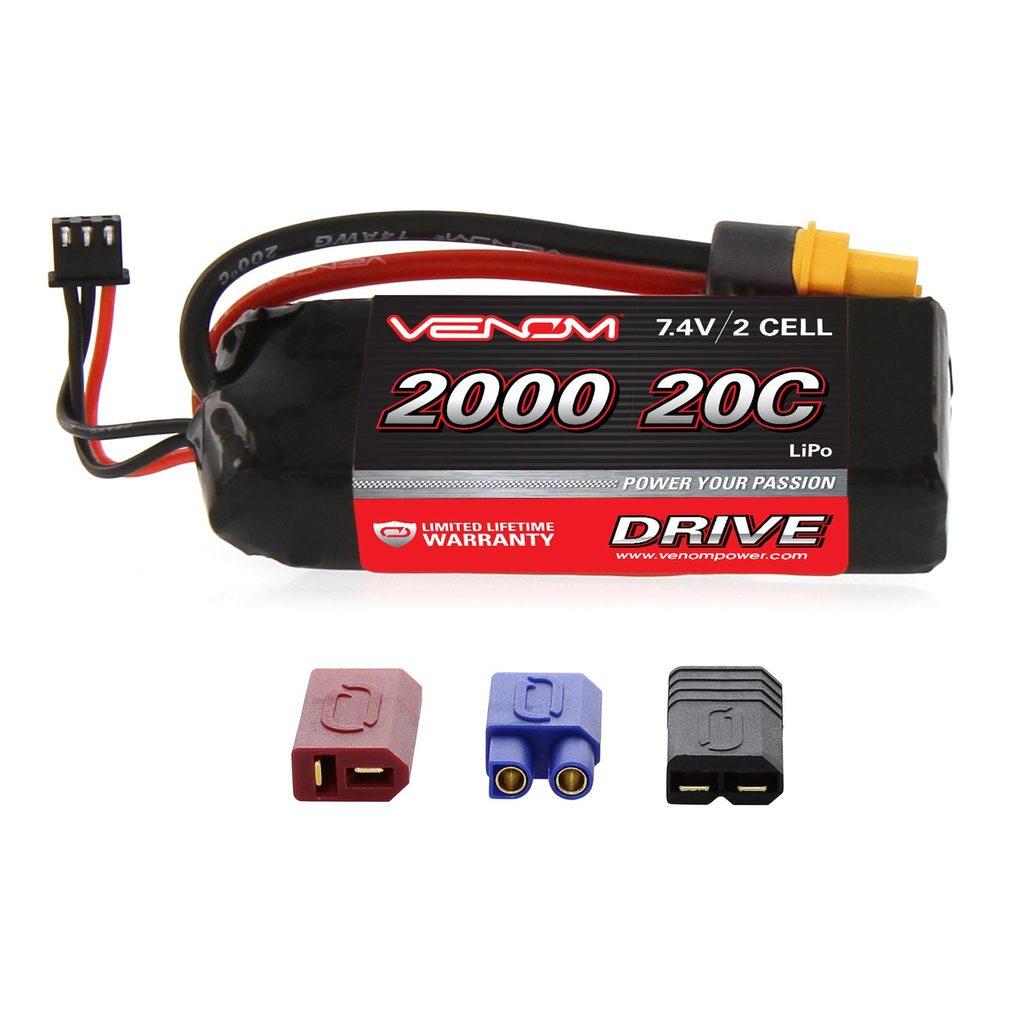 Venom 20C 2S 2000mAh 7.4V LiPo Battery with Universal Plug System