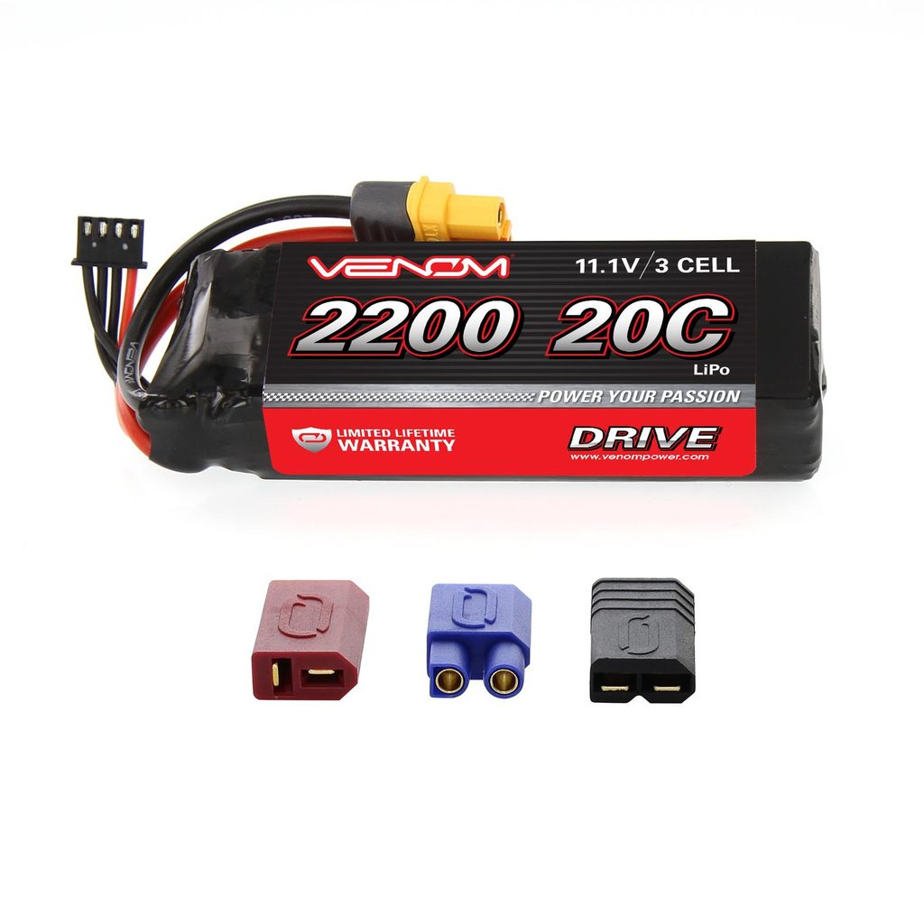 Venom 20C 3S 2200mAh 11.1V LiPo Battery with Universal Plug System