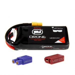 Venom 75C 3S 1300mAh 11.1V FPV Drone Racing LiPo Battery (XT60, EC3, Deans Plug)