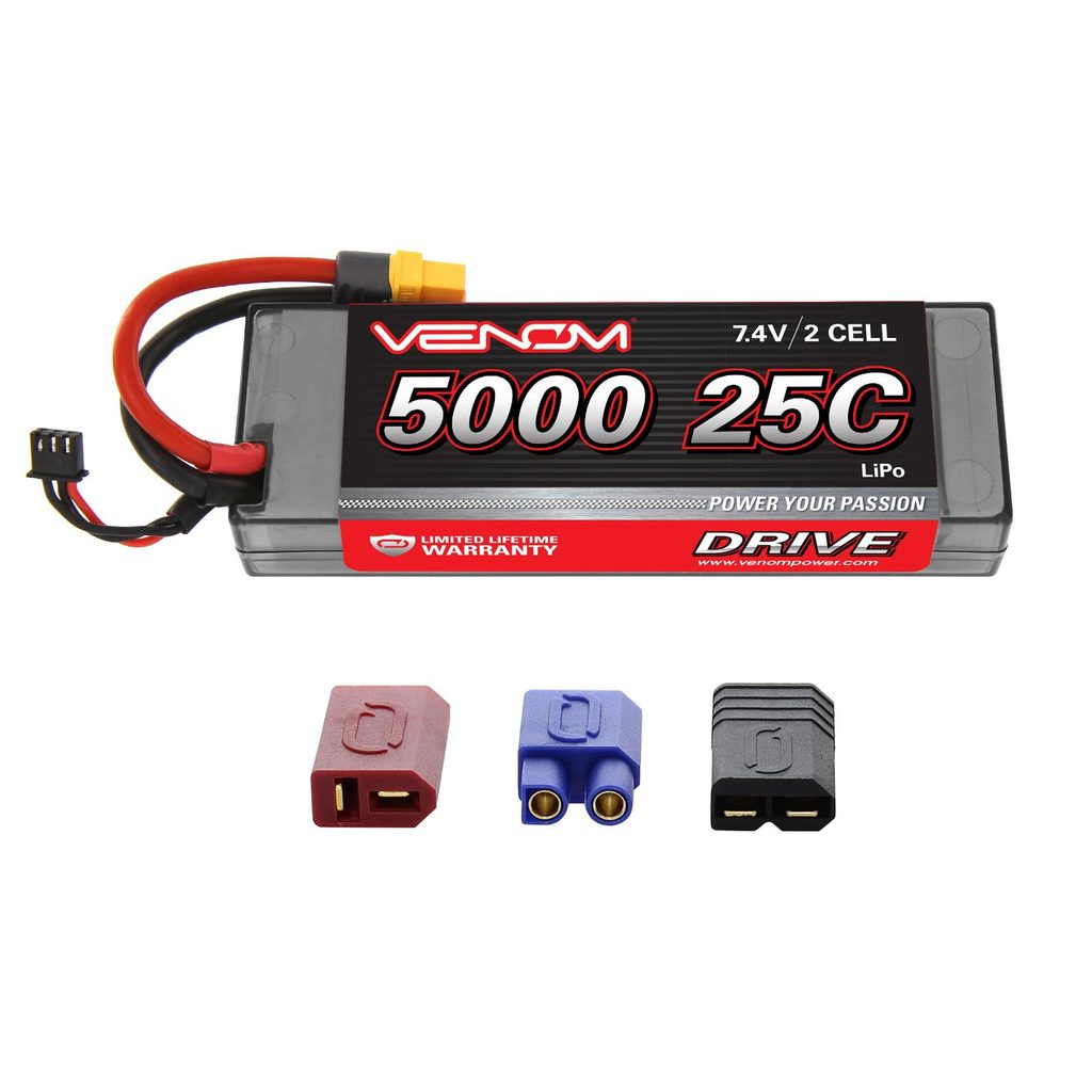 Venom 25C 2S 5000mAh 7.4V Hard Case LiPo Battery with Universal Plug System