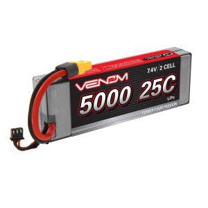 Venom 25C 2S 5000mAh 7.4V Hard Case LiPo Battery with Universal Plug System