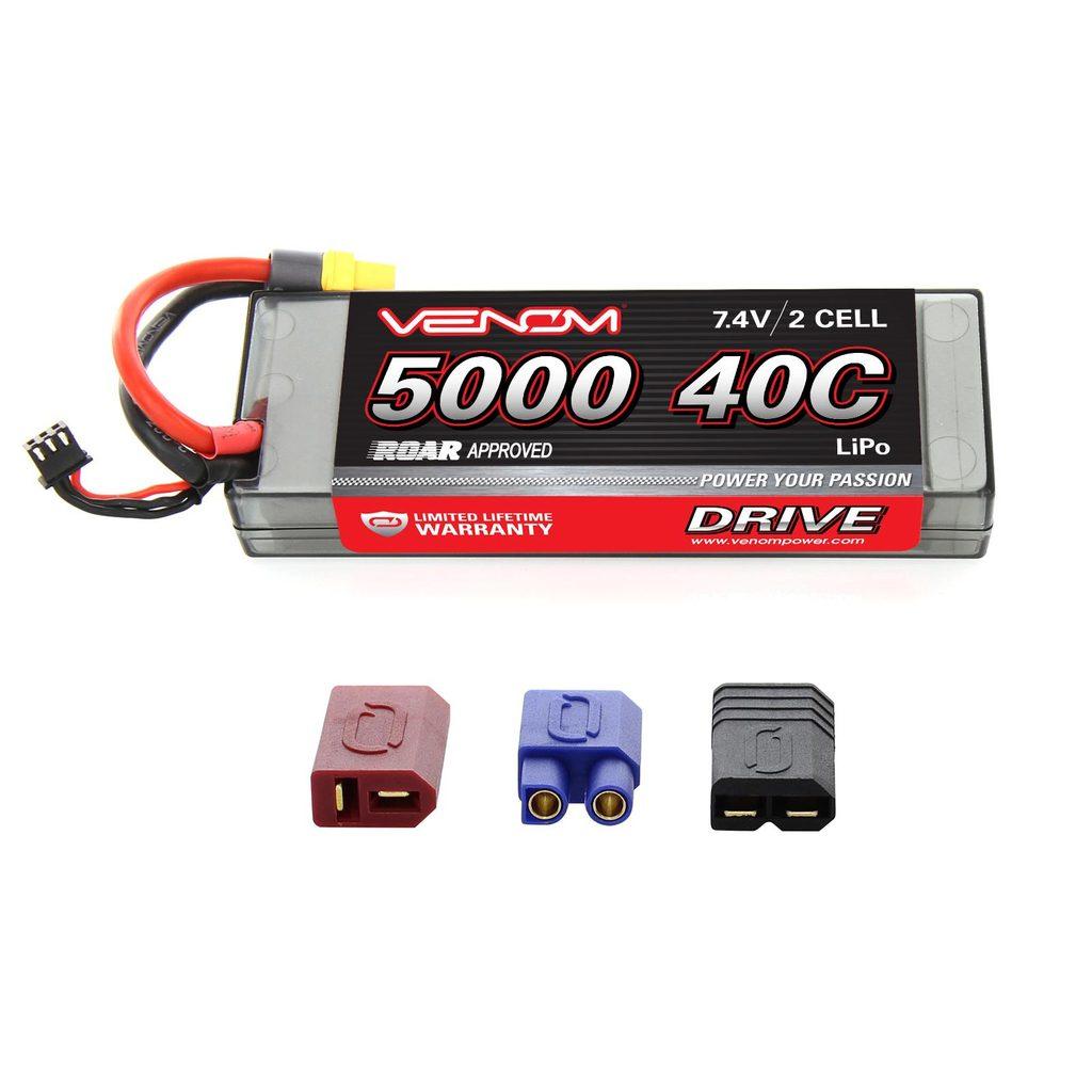 Venom Sport Power 40C 2S 5000mAh 7.4V LiPo Battery ROAR Approved with UNI Plug