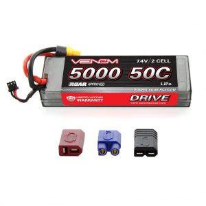 Venom Sport Power 50C 2S 5000mAh 7.4V LiPo Battery ROAR Approved with UNI Plug
