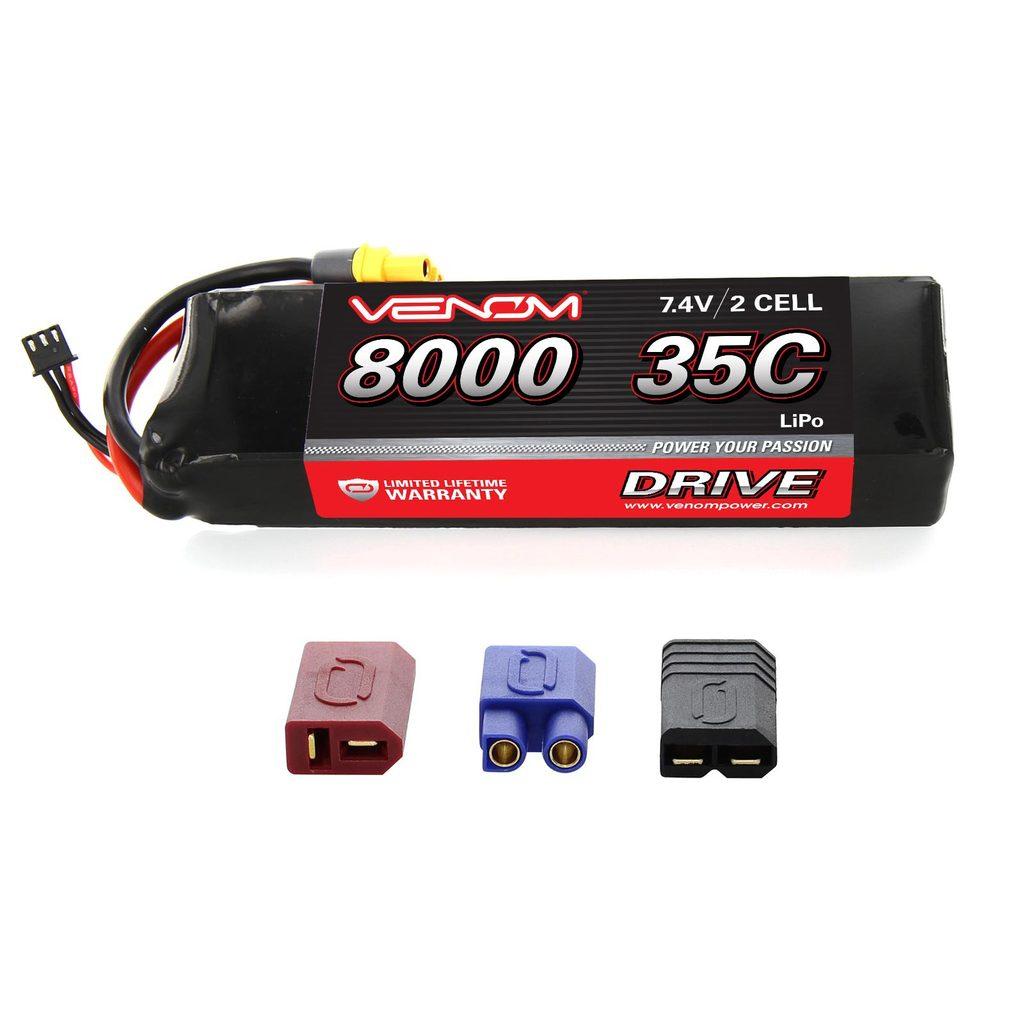 Venom 35C 2S 7.4V 8000mAh LiPo Battery with Universal Plug System