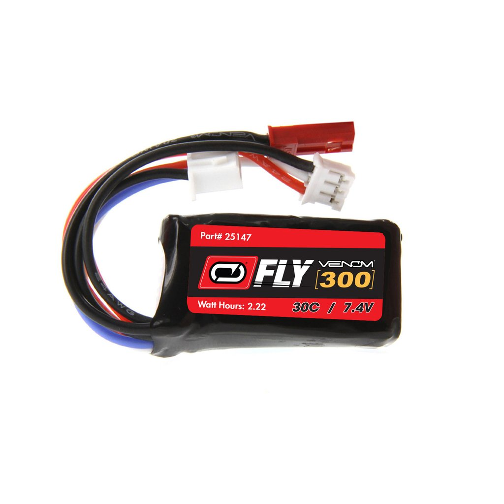 Venom Fly 30C 2S 300mAh 7.4V LiPo Battery with JST and E-flite PH Plug