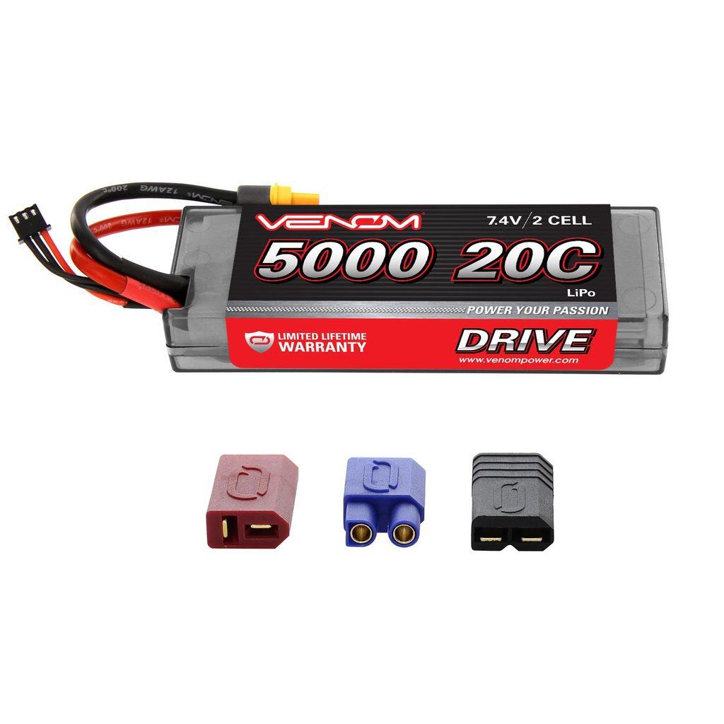 Venom 20C 2S 5000mAh 7.4V Hard Case LiPo Battery with Universal Plug System